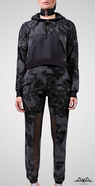 Printed Cropped Hoodie With Fitted Sweat Pant