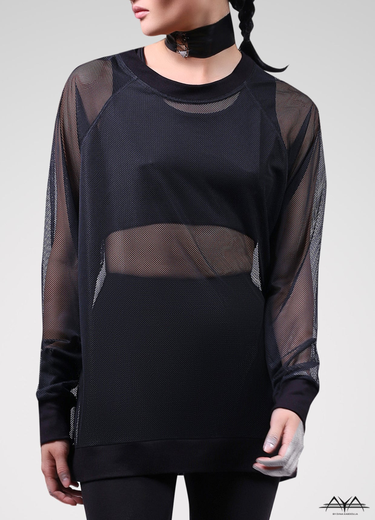Unisex Mesh Sweat Shirt Noir