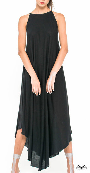 LONG CURVED HEM LINE DRESS