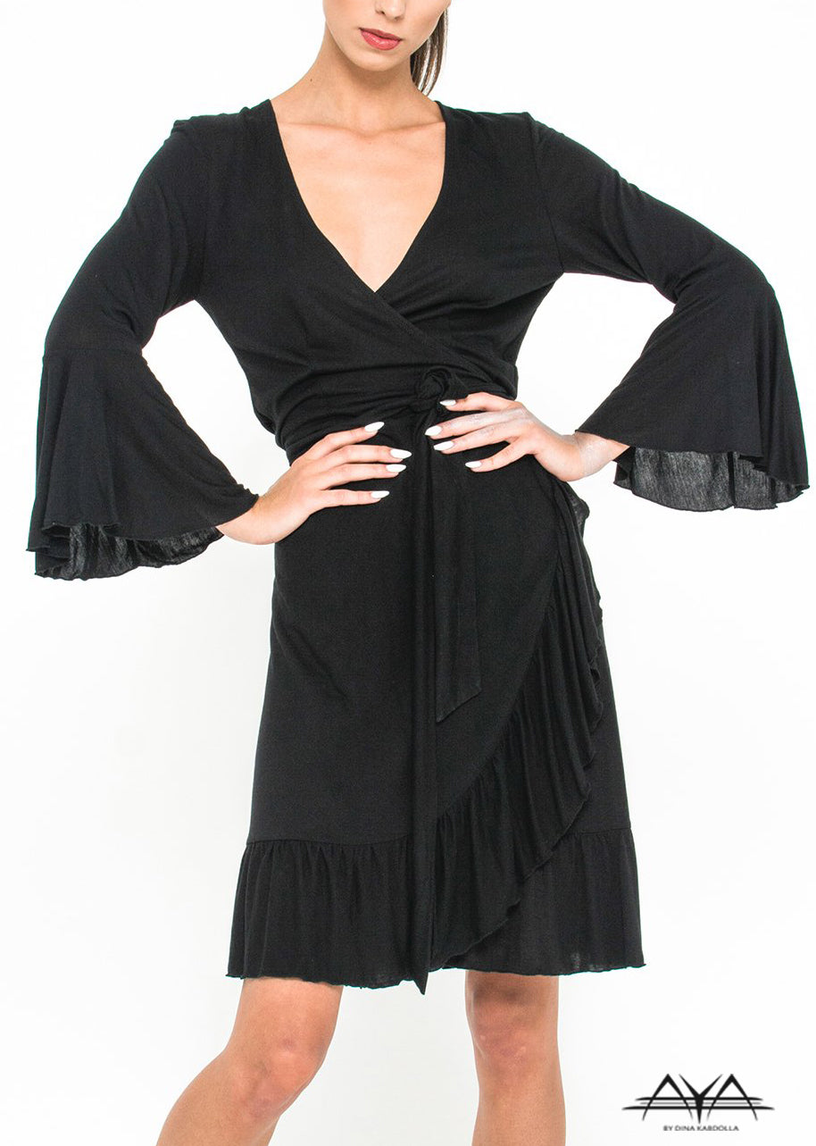 FLARED OVERWRAP DRESS