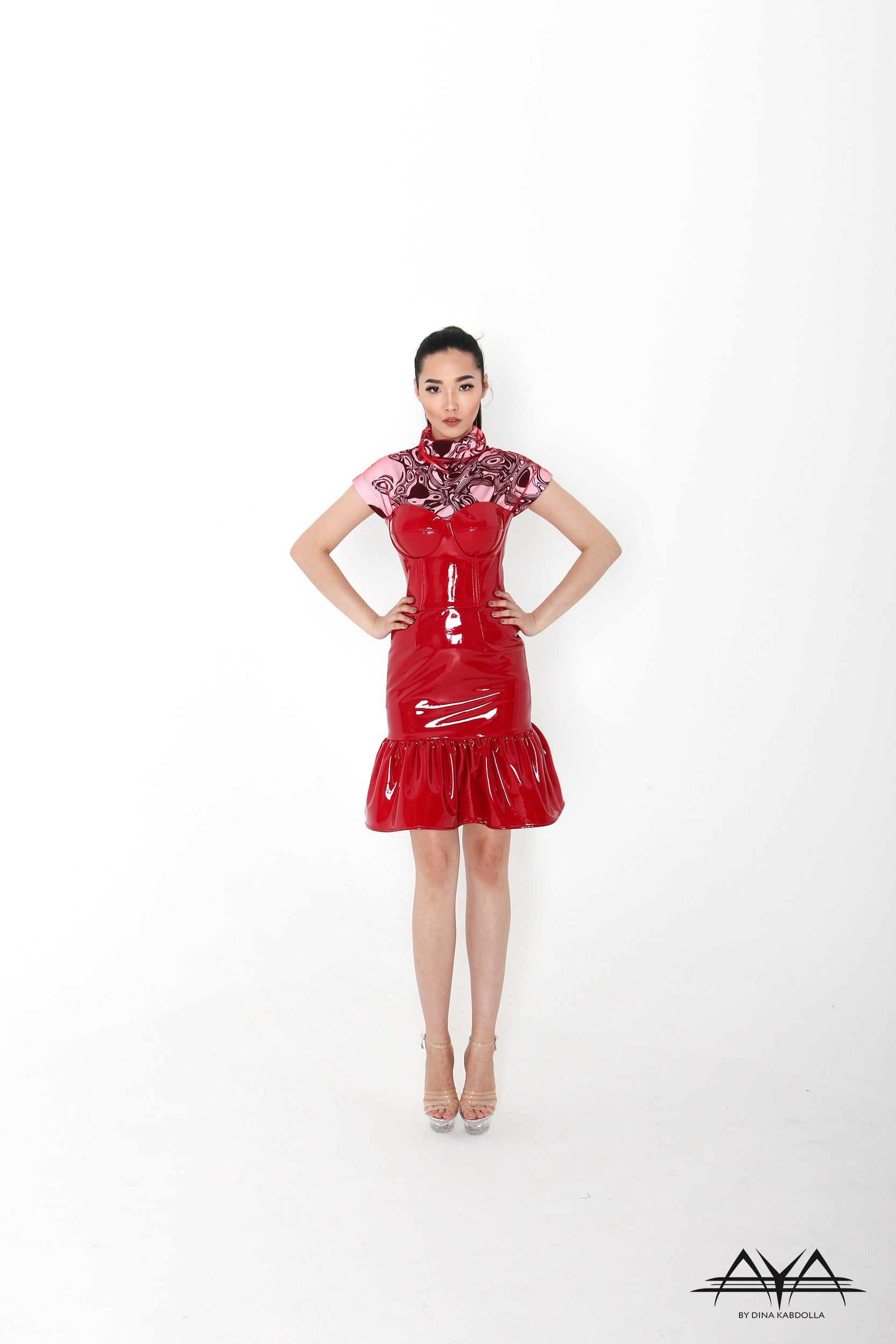 VINYL WIRE CUPS CORSET DRESS