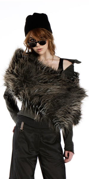 Peaceful Warrior Wrap in Faux Mongolian fur