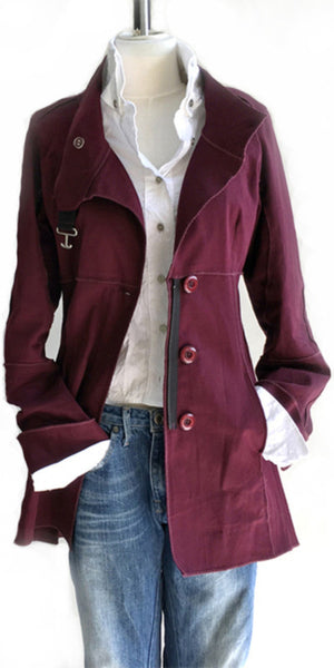 Peaceful Warrior Crimson Pea Coat