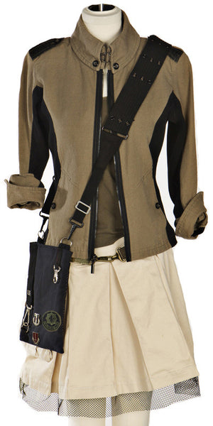 Military Cadet Jacket with Gunmetal Accents