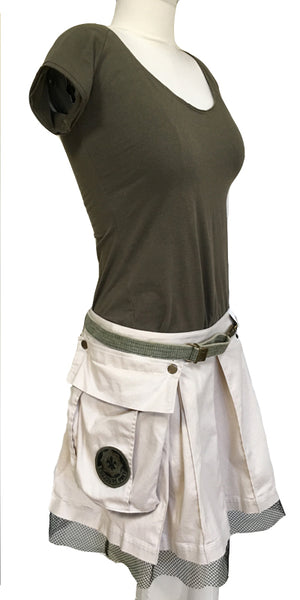 "Peaceful Warrior ""Toujours Pret"" Box Pleat Skirt"