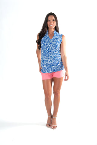 Blue Banana Leaf Sleeve-less Tunic
