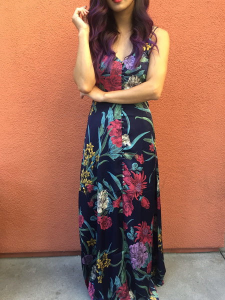 Anne Floral Satin Maxi Dress