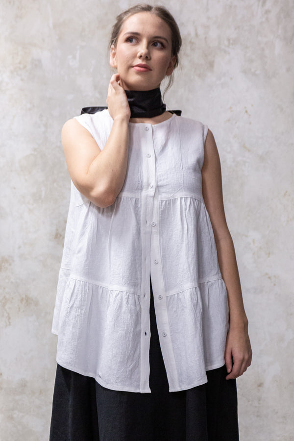 Mao Trapeze Top | White Cheesecloth