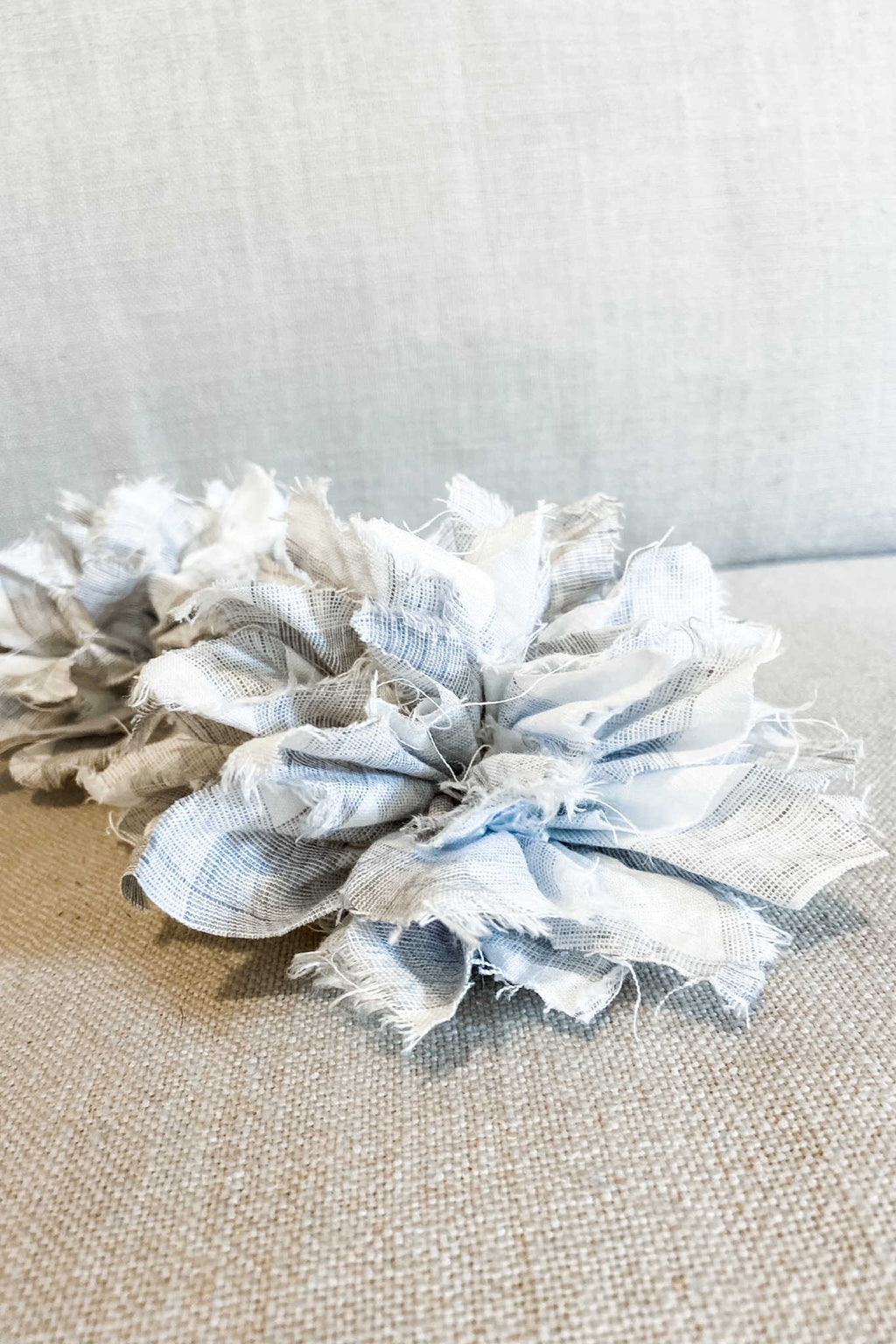 Fabric Flower Brooch | Mottled Ash Check