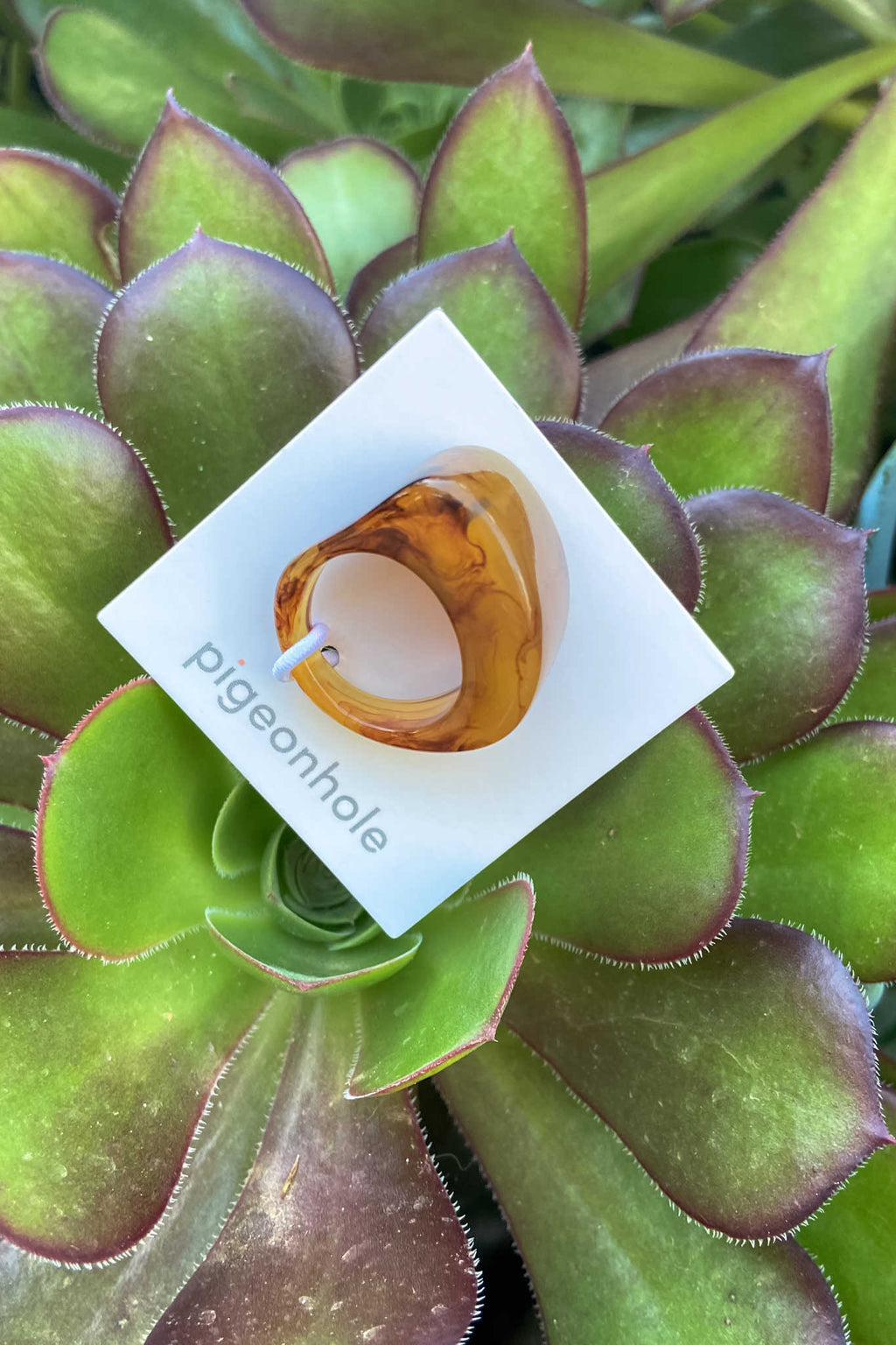 Pigeonhole | Rounded Resin Ring | Toffee