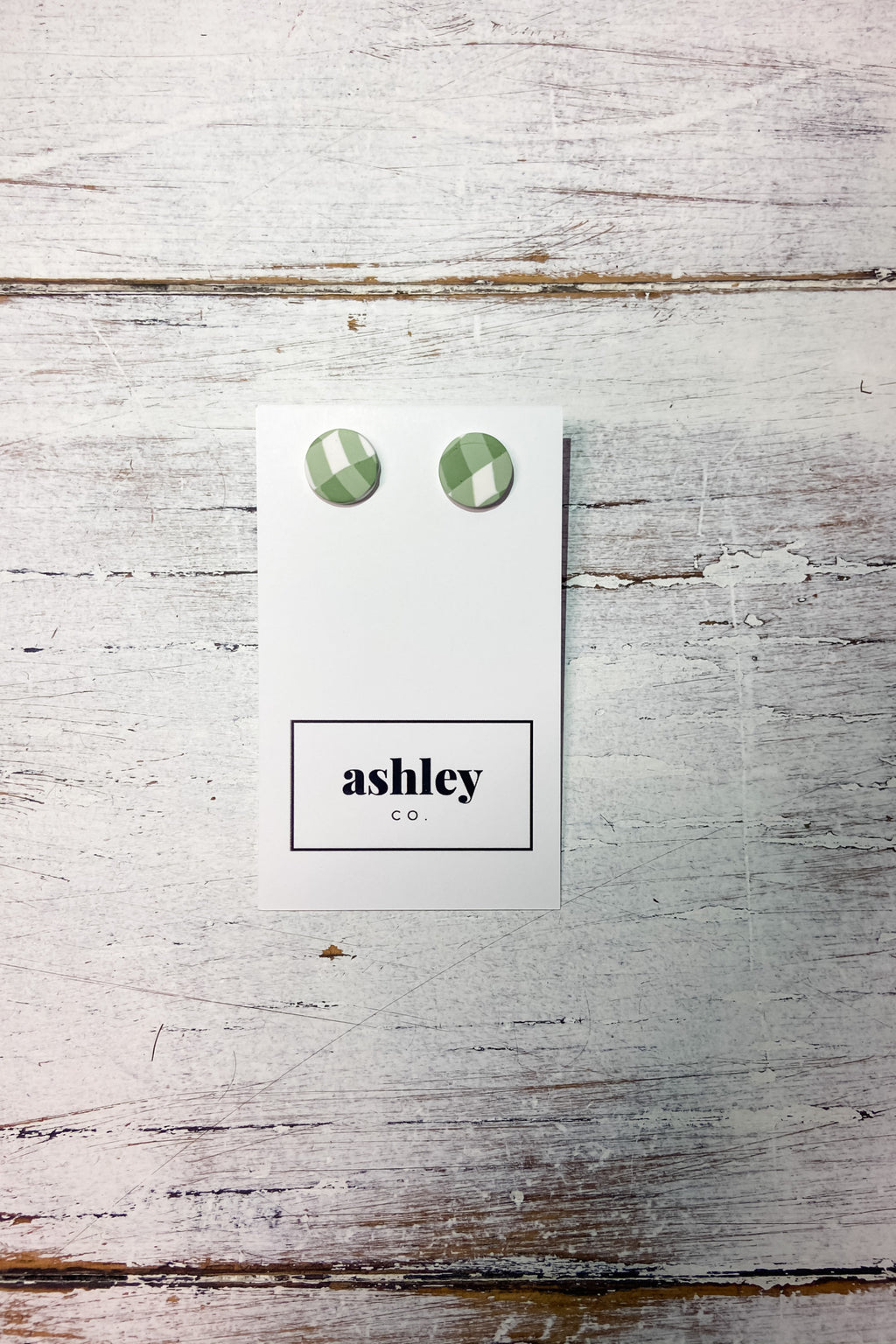 Ashley Co | Moss Green Gingham Earring