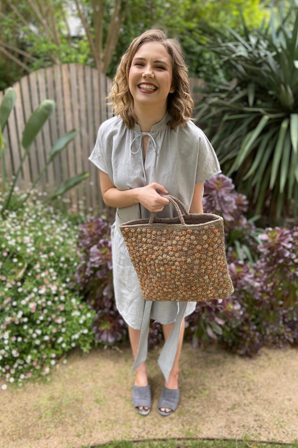 Sophie Digard | Large Crochet Raffia Tote | Chateau Grey
