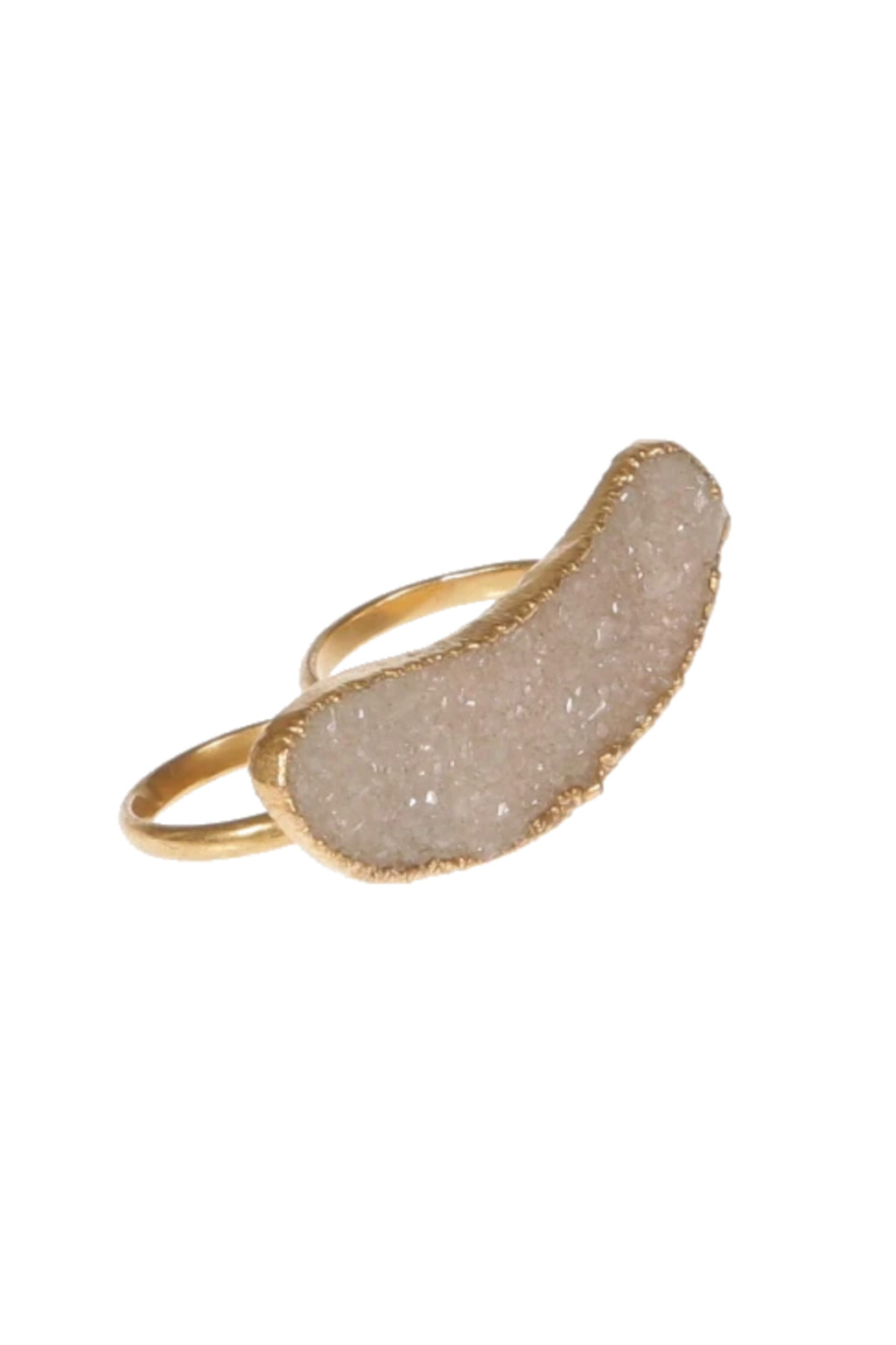 DUG UP NEW YORK | Yellow Gold, Druzy Agate Double Ring