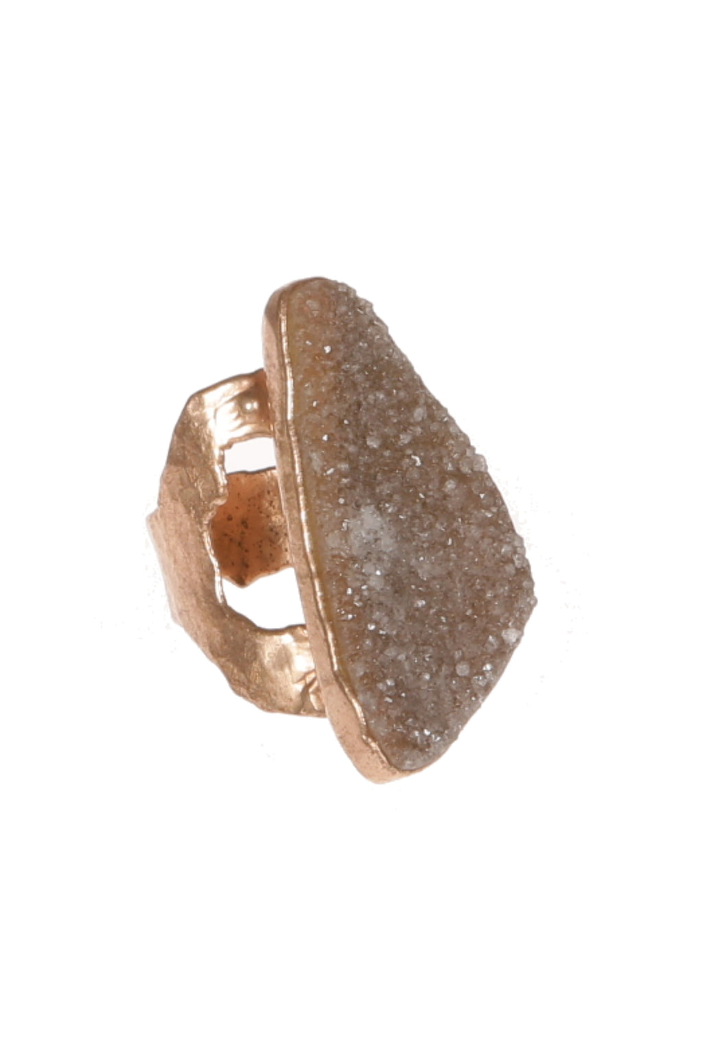 DUG UP NEW YORK |  Fossil Druzy Ring 18K fill over Silver