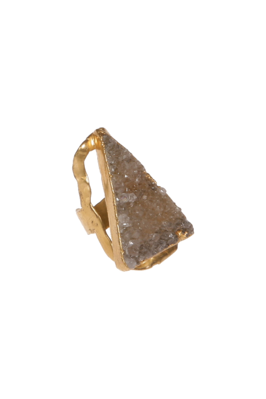 DUG UP NEW YORK | Gold Ring, Adjustable, Druzy Agate, Triangle