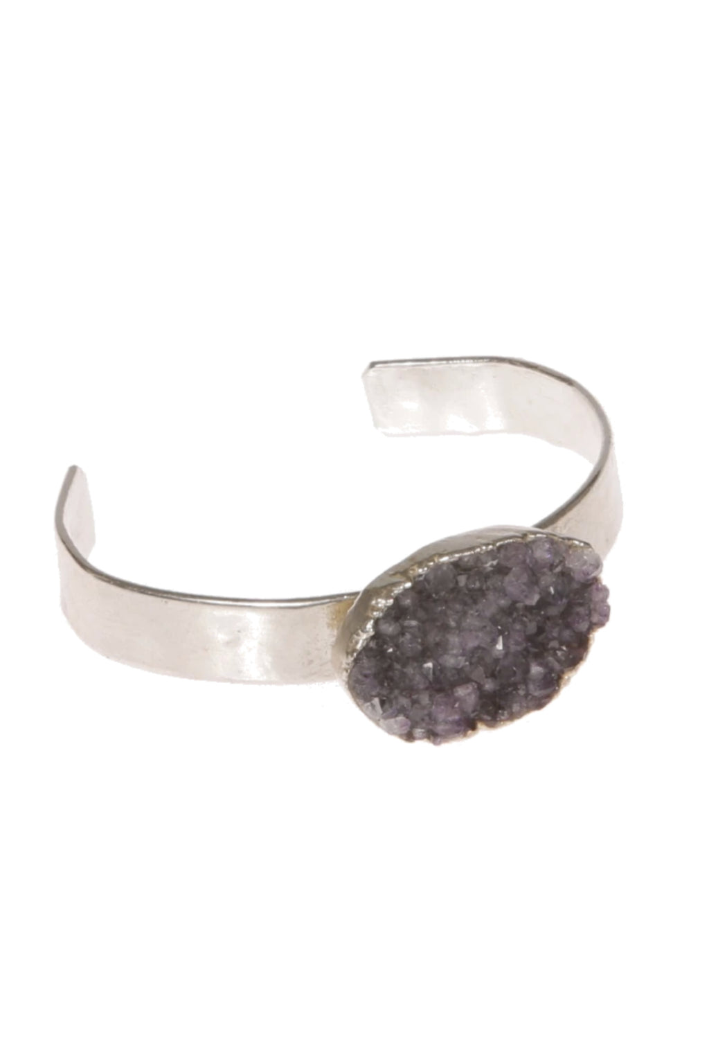 DUG UP NEW YORK | Oval Druzy Agate Silver Cuff Bracelet