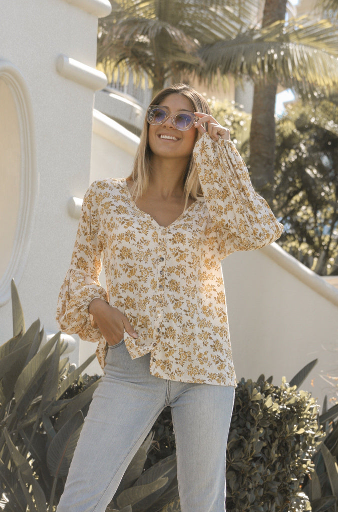 Floral 70's Long Sleeve Blouse
