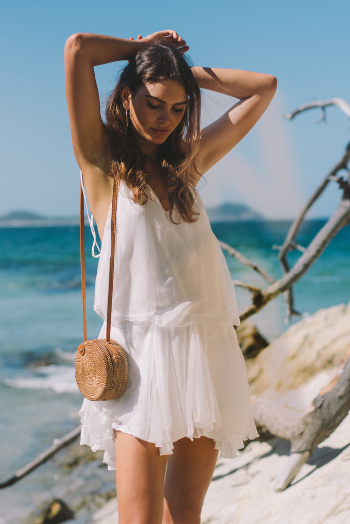 White Feather Silk Mini Dress