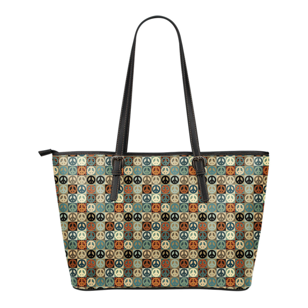 Peace Small Leather Tote Bag