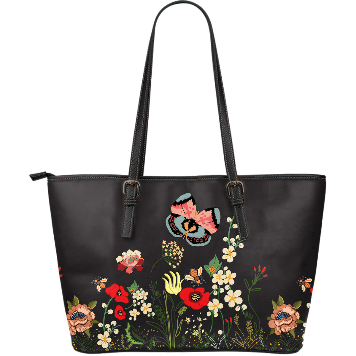 Wild Flower Night Large Leather Tote Bag