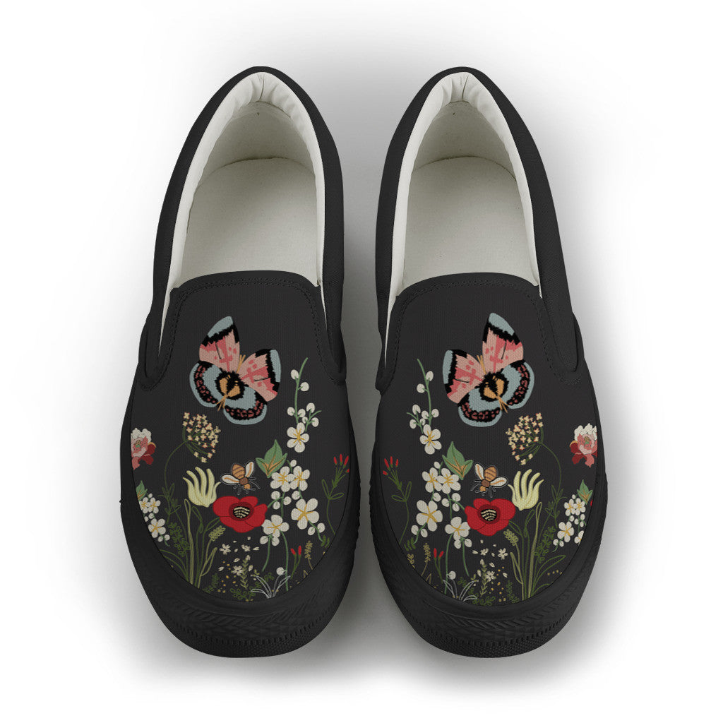 Wild Flower Night Women's Slip On Shoes