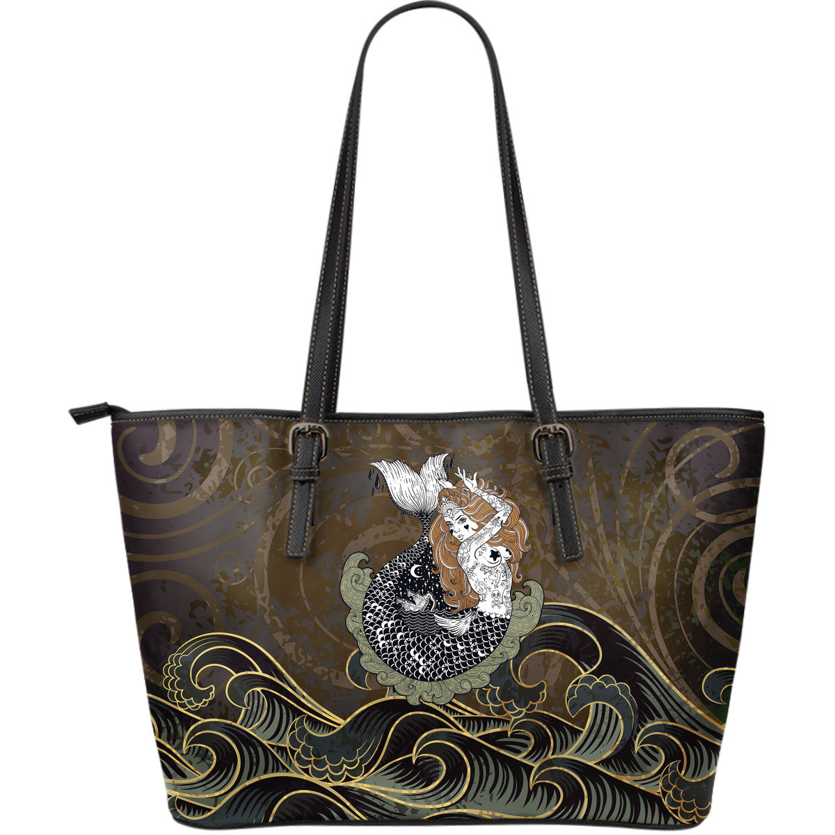 Mermaid Night Large Leather Tote Bag