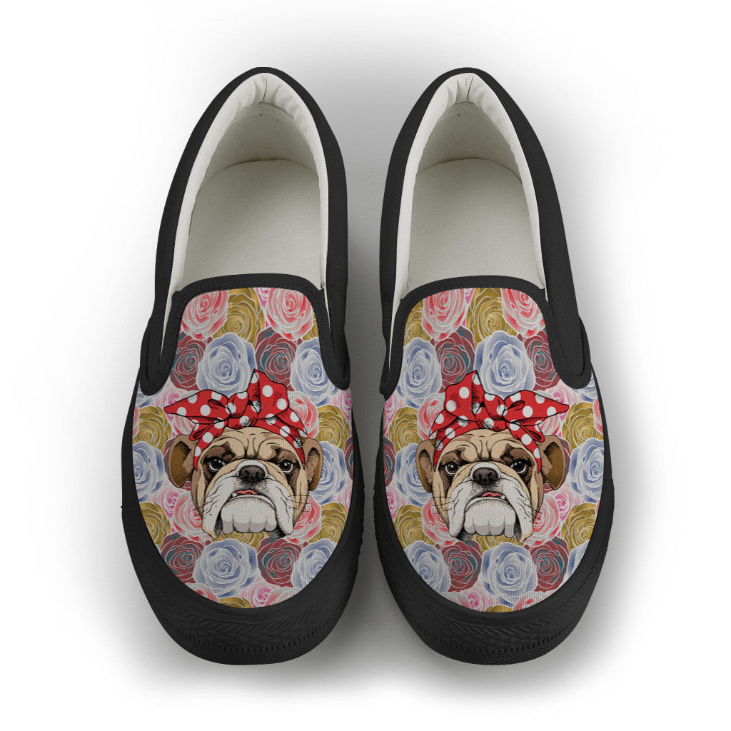 Rosey The Bulldog Women's Slip On Shoes ~ White or Black