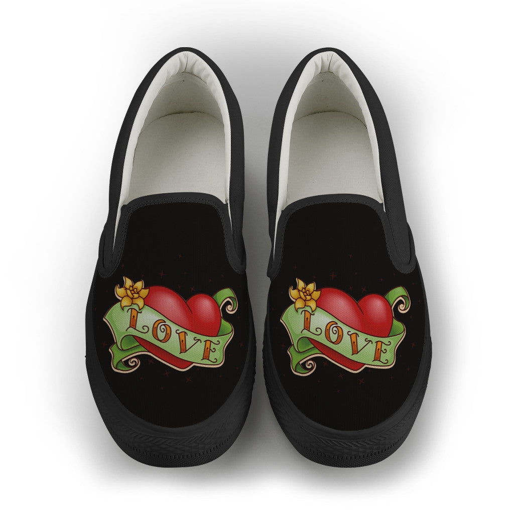 Love & Heart Tattoo ~ Women's Slip-On Canvas Shoes (Black)