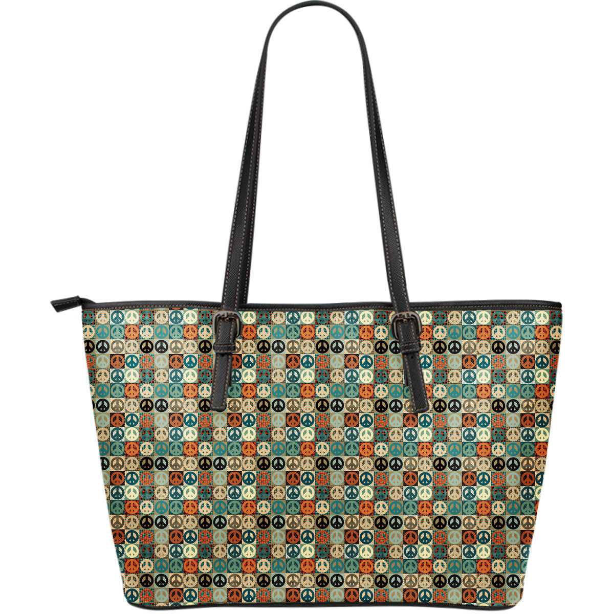 Peace Large Leather Tote Bag