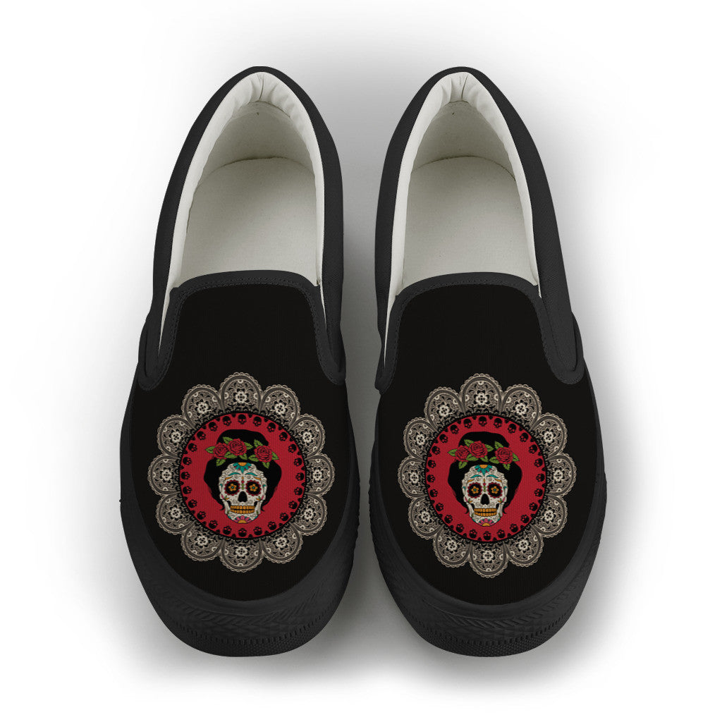 Sugar Skull Womens Slip-On Canvas Shoe