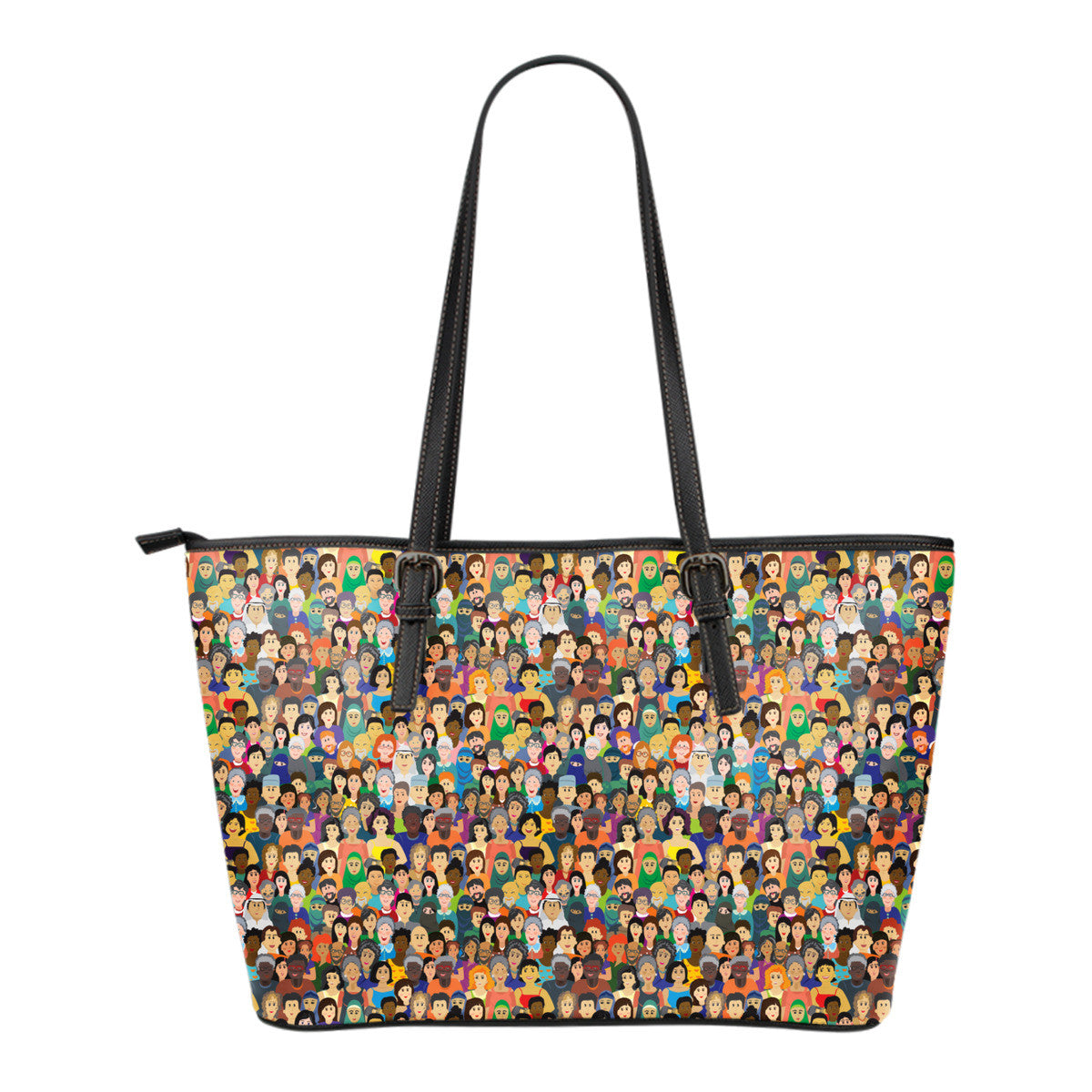 Diversity Rocks Small Leather Tote Bag