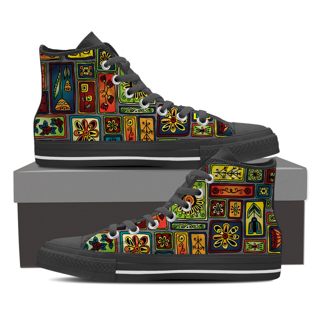 Geo Garden Men's High Top Shoes