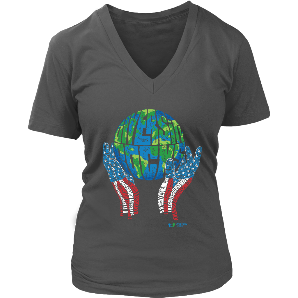 Diversity Rocks the World V-Neck T-Shirt