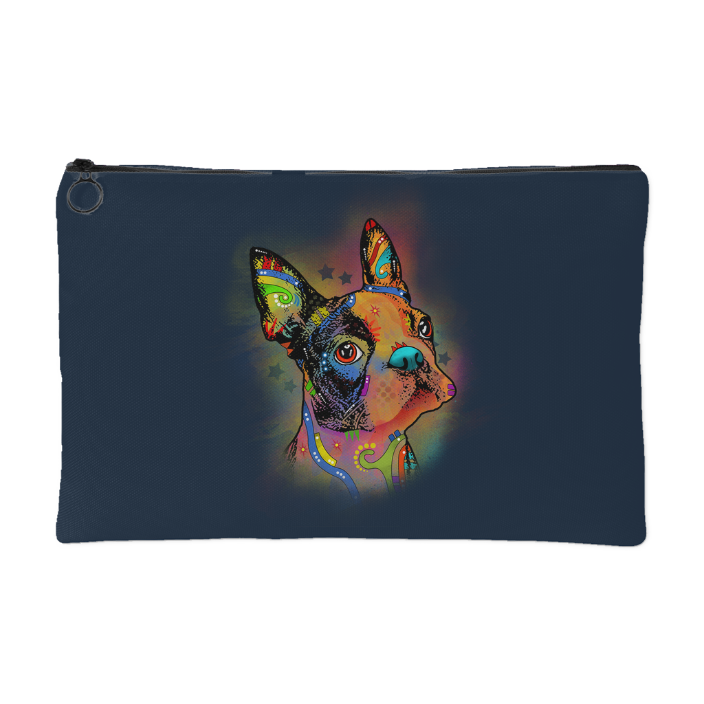 BOSTON TERRIER Accessory Pouch, Navy