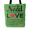 """All You Need is Love & My Dog"" Tote Bag"