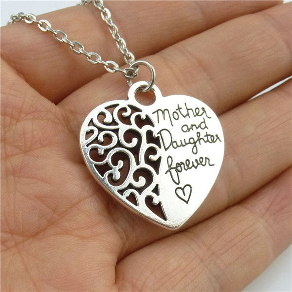 "Vintage Silver Love Heart ""Mother & Daughter Forever "" Necklace"