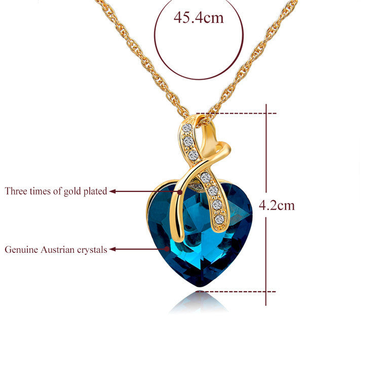 GENUINE CLEAR AUSTRIAN CRYSTAL PENDANT NECKLACE