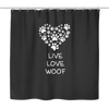 Live Love Woof Shower Curtain in Black or Tan