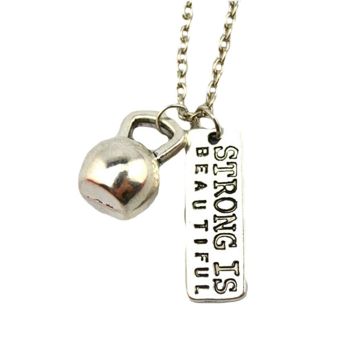 Dumbbell Kettle bell with Strong is Beautiful Necklace