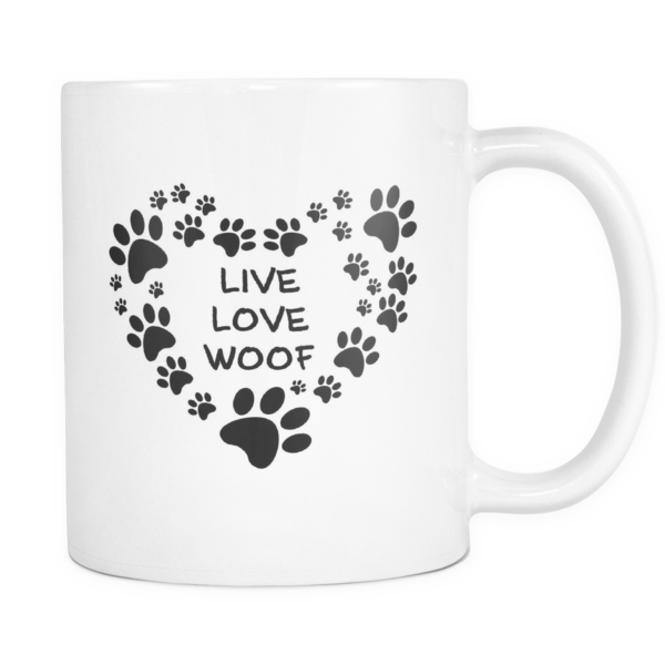 "11 oz ""Live Love Woof"" Heart of Paws Mug"