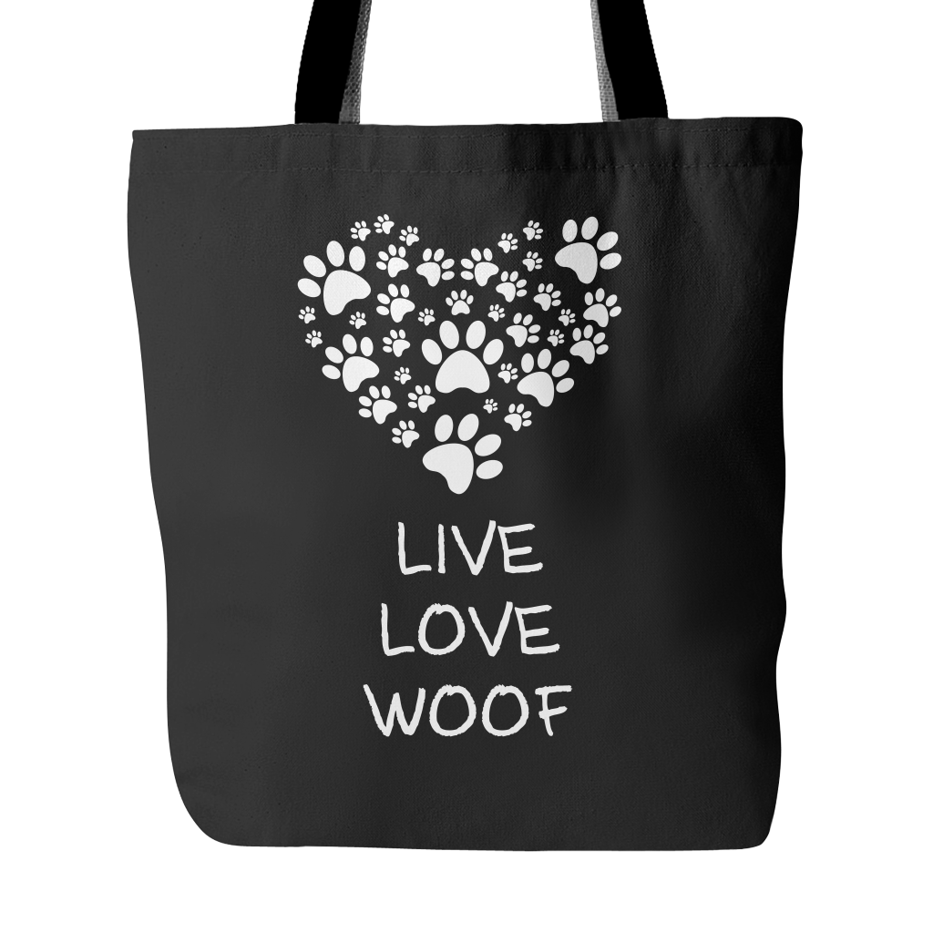 """Live Love Woof"" Blk Tote Bag"
