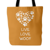 """Live Love Woof"" Orange Tote Bag"