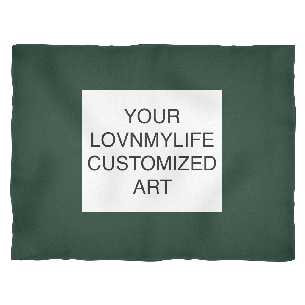 CUSTOM ART FLEECE BLANKET - Dark Green & Red