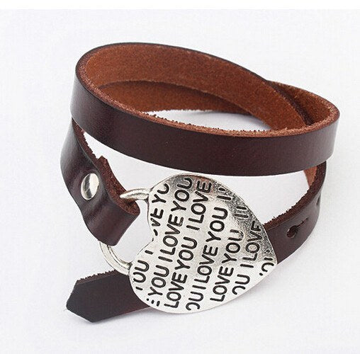 "Bracelet - Leather & Silver Charm Bracelets  Choose From ""I Love You"", Flower, Or Star Charms"