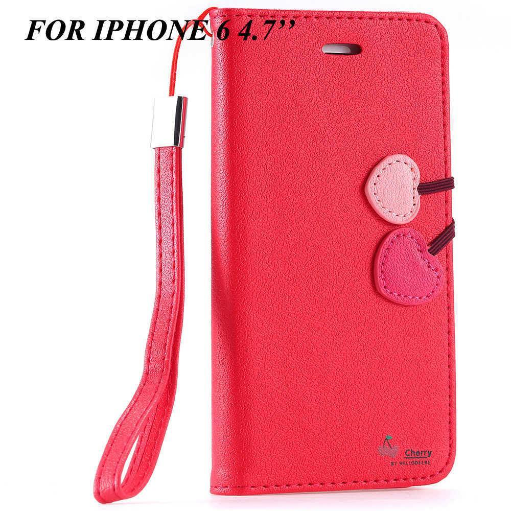 Cellphone Case - Cherry Heart Leather Stand Case For Apple IPhone 5/5s/6/6s