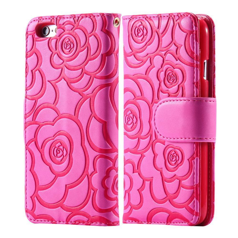 Cellphone Case - Classic Flower Leather Wallet With Stand Case For IPhone5 5S 6 6S 6 S Plus