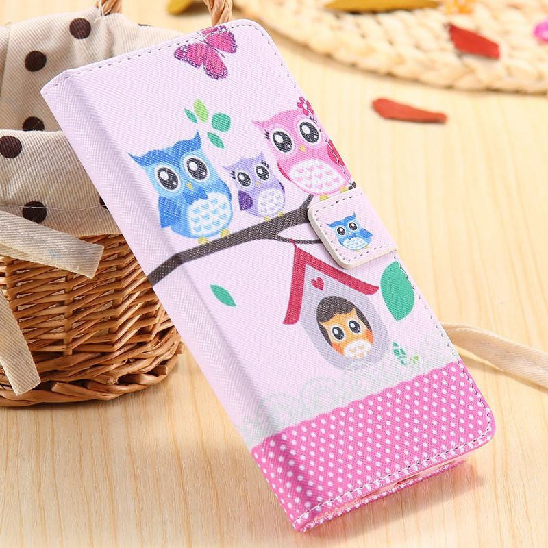 Colorful Owl Leather Case for Samsung Galaxy S6 Edge Plus