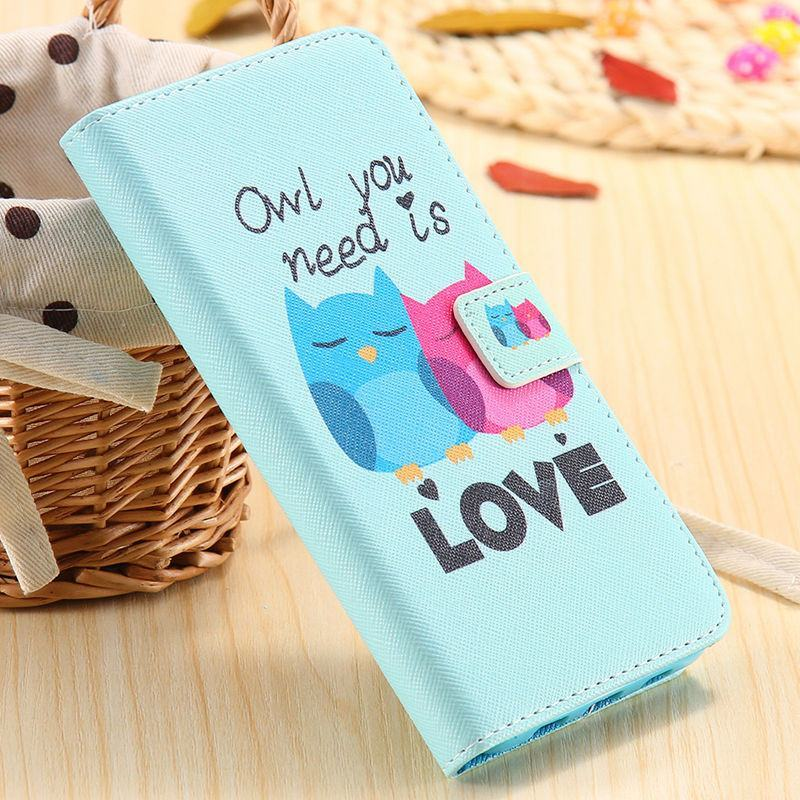 Cellphone Case - Colorful Owl Elf Paint Leather Case For Samsung Galaxy S6 Edge Plus
