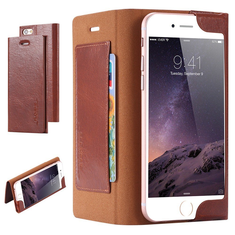 Cellphone Case - Double Pure View Stand Flip Leather Cover Case For IPhone 6