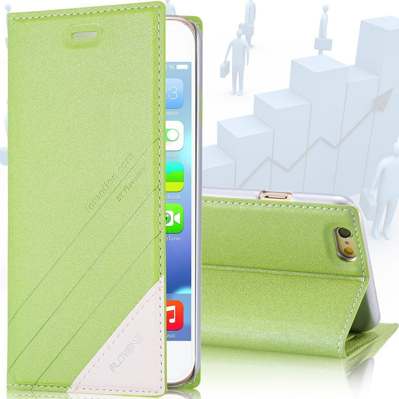Cellphone Case - Floveme Locus Leather Stand Case With Card Holder For IPhone 5s